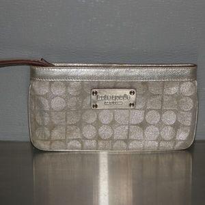 kate spade silver canvas wallet coin bag